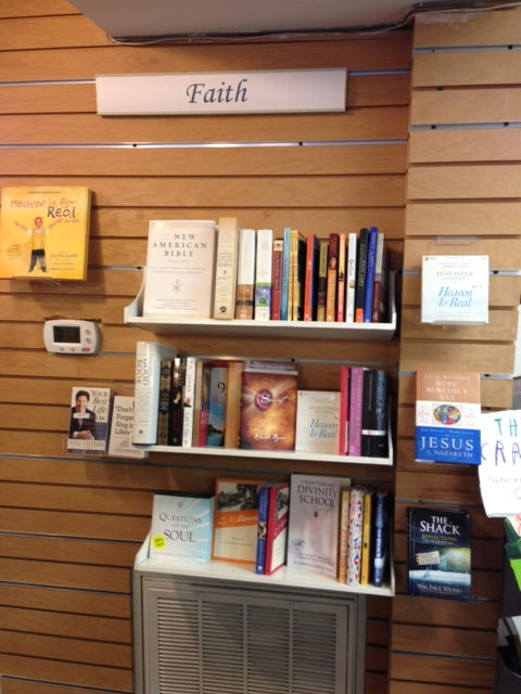 the 'faith' section at Bethany Beach Books